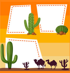 border template with silhouette camels vector image