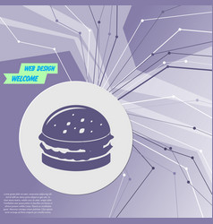 burger sandwich hamburger icon on purple abstract vector image