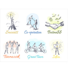 Business-themed sketches of profitable cooperation vector