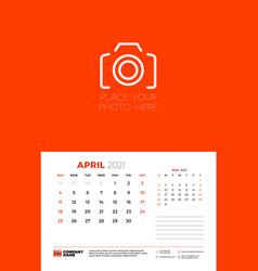 calendar for april 2021 week starts on sunday vector image