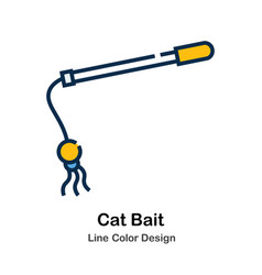 Cat bait line color icon vector