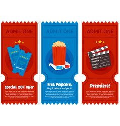 Cinema ticket flyer set vector