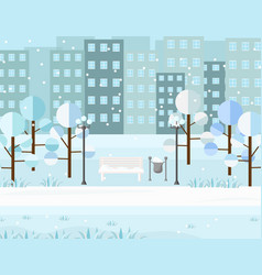 city park view winter seasons background vector image