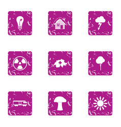 Climatic icons set grunge style vector