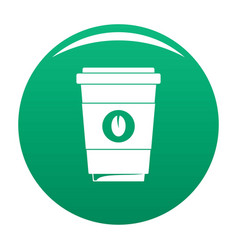 coffee plastic cup icon green vector image