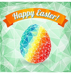 Colorful Easter egg on polygonal background vector image