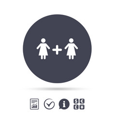 Couple sign icon woman plus woman lesbians vector