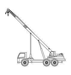 crane truck construction heavy machinery icon vector image