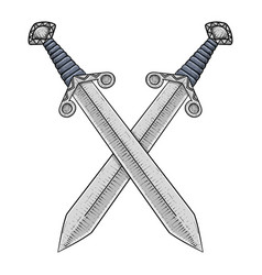 Crossed swords hand drawn sketch vector