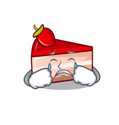 Crying strawberry cake mascot cartoon vector