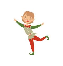Cute playful little boy in elf costume vector