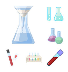 design of flask and laboratory icon set of vector image