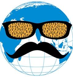 Dollar face globe blue vector image vector image