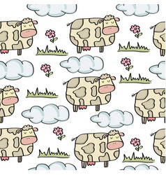 doodle seamless pattern with cows vector image