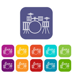 Drum kit icons set flat vector