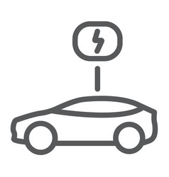 eco car line icon ecology and vehicle transport vector image