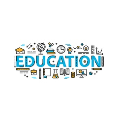 Education thin line style banner vector