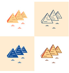 egyptian pyramids icon set in flat and line style vector image