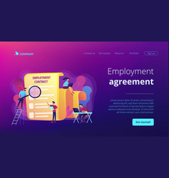 Employment agreement concept landing page vector