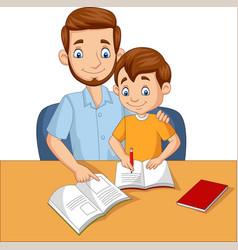 Father helping his son do homework vector