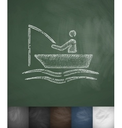 Fishermen on a boat icon Hand drawn vector