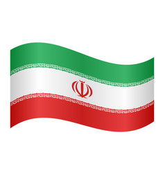 flag of iran waving on white background vector image
