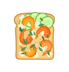 Flat icon of delicious sandwich with feta vector