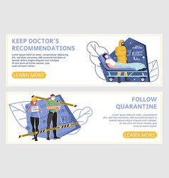 follow quarantine horizontal banners vector image