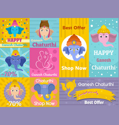 Ganesh chaturthi banner concept set flat style vector