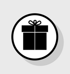 Gift sign flat black icon in white circle vector