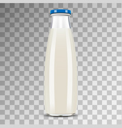 glass bottle of milk isolated on transparent vector image
