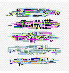 glitch effect style elements set vector image