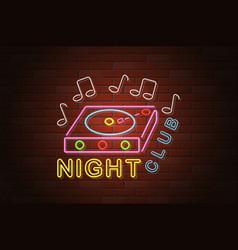 glowing neon signboard nightclub on brick wall vector image