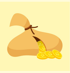 gold money coins bag income profits cash wealth vector image
