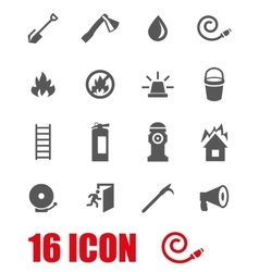grey firefighter icon set vector image