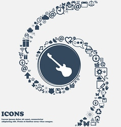 Guitar icon in the center Around the many vector image