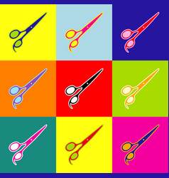 Hair cutting scissors sign pop-art style vector