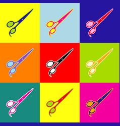 hair cutting scissors sign pop-art style vector image