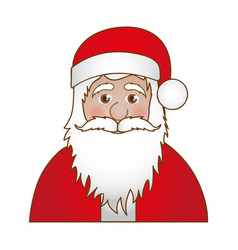 half body cartoon santa claus portrait icon vector image