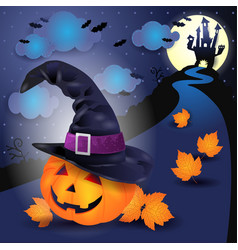 halloween night with big pumpkin and witchs hat vector image
