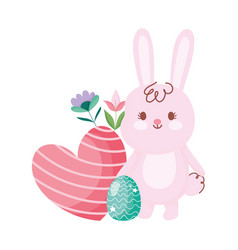 Happy easter cute bunny with egg heart and flowers vector