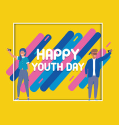 Happy youth day poster celebration vector
