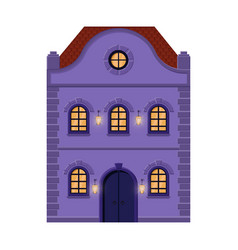 house flat style violet old european building vector image