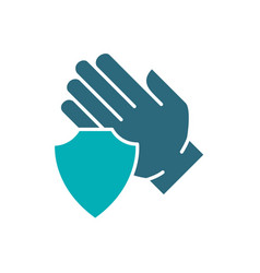 Human hand with shield colored icon treatment vector