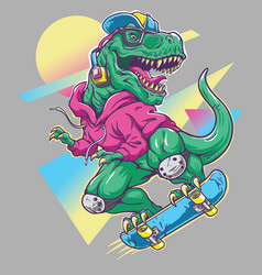 humorous t rex dinosaur riding on skateboard vector image