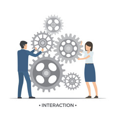 Interaction people and gears vector