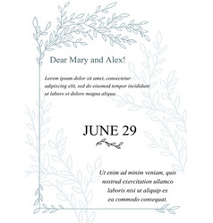 Invitation card made of hand drawn branches vector