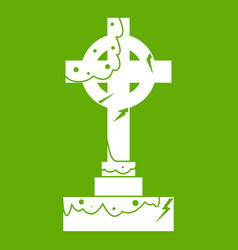 Irish celtic cross icon green vector