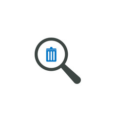 magnifying glass icon trash icon vector image