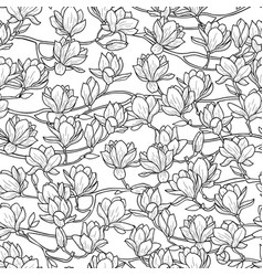 Magnolia spring seamless pattern vector